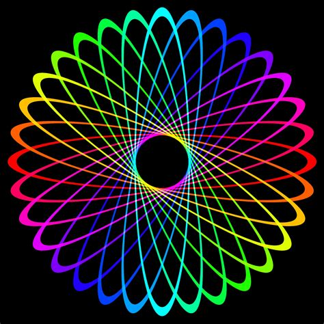 Black background with neon rainbow spiral free image