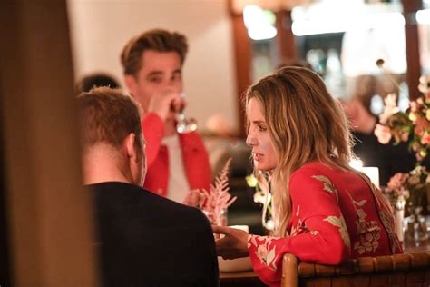 Chris Pine and Annabelle Wallis together at a dinner party
