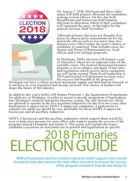 Primary Elections Guide from August 2018 MCIR Magazine