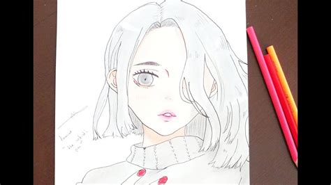 how to draw anime girl with pencil easy draw '' the artist