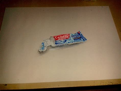 Realistic Drawing time lapse: Colgate toothpaste tube 25ml