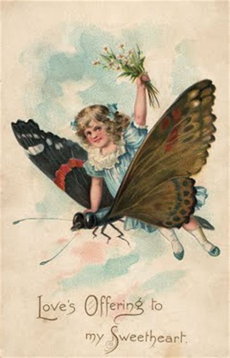 Free Vintage Clip Art - Girl with Butterfly - The Graphics